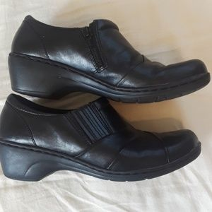 Clarks Black Slip On Loafers Leather Shoes Clogs